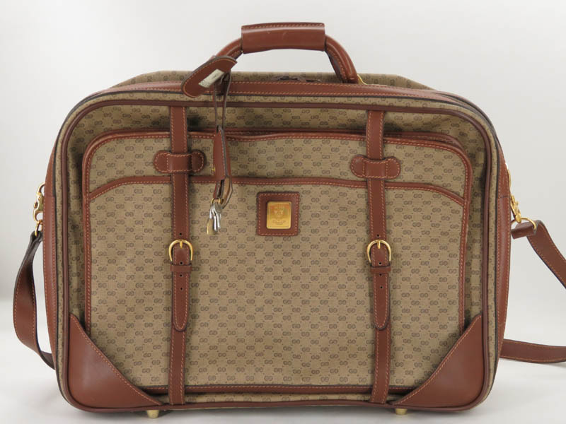 bdd120ad4 Details about AUTH GUCCI VINTAGE MICRO GG PVC LEATHER BRIEFCASE BUSINEESS  2WAY BAG EY233